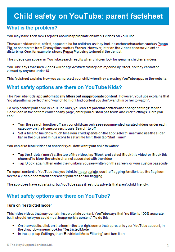 Child Safety on You Tube.